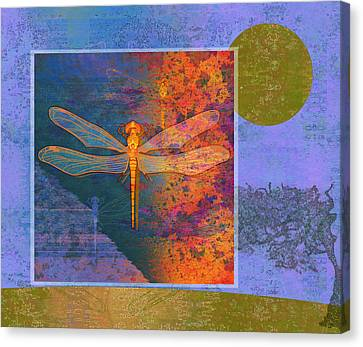 Flaming Dragonfly Canvas Print by Mary Ogle