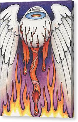 Flaming Flying Eyeball Canvas Print by Amy S Turner