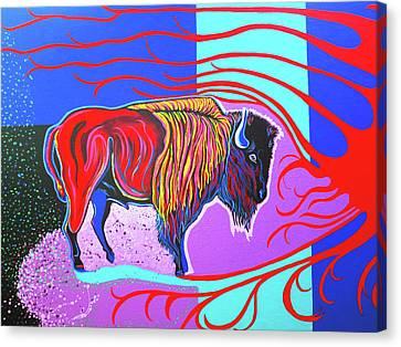 Flaming Heart Buffalo Canvas Print