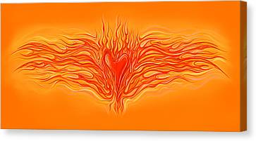Flaming Heart Canvas Print by David Kyte