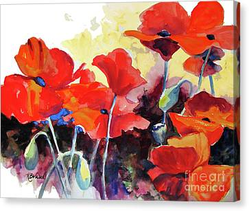 Canvas Print featuring the painting Flaming Poppies by Kathy Braud