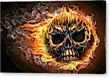 flaming skull Punk Gothic Biker Art Canvas Print