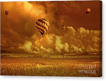 Canvas Print featuring the photograph Flaming Sky by Charuhas Images