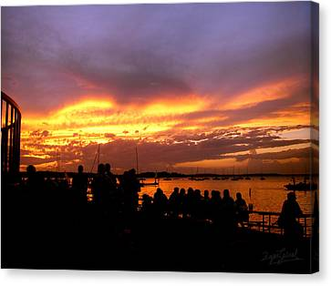 Canvas Print featuring the photograph Flaming Sunset by Zafer Gurel