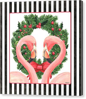 Celebrate Canvas Print - Flamingo Amore 1 by Debbie DeWitt
