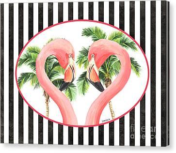 Botanical Beach Canvas Print - Flamingo Amore 5 by Debbie DeWitt