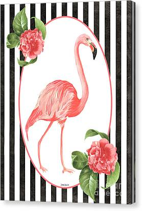 Botanical Beach Canvas Print - Flamingo Amore 6 by Debbie DeWitt