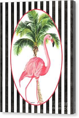 Botanical Beach Canvas Print - Flamingo Amore 7 by Debbie DeWitt