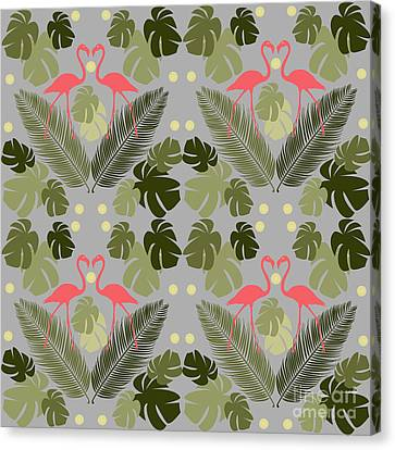 Botanical Beach Canvas Print - Flamingo And Palms by Claire Huntley