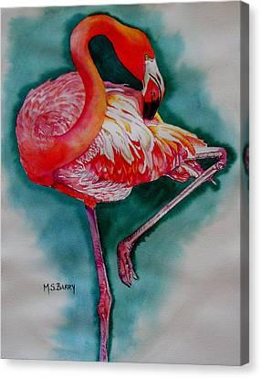 Flamingo Ballerina Canvas Print by Maria Barry