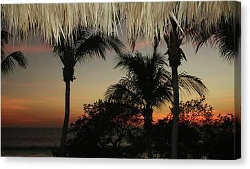 Canvas Print featuring the digital art Flamingo Beach Bar View by Ellen Barron O'Reilly