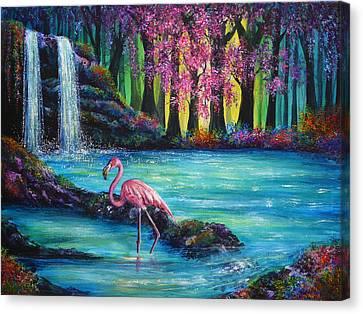 Flamingo Falls Canvas Print by Ann Marie Bone