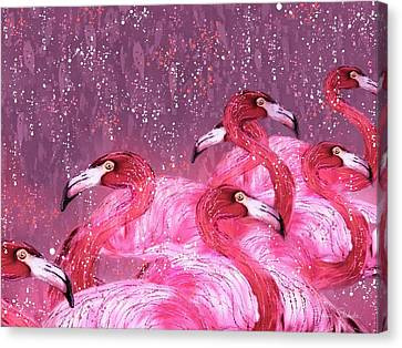 Flamingo Frenzy Canvas Print