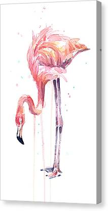 Flamingo Illustration Watercolor - Facing Left Canvas Print by Olga Shvartsur