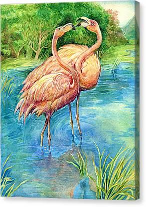 Flamingo In Love Canvas Print by Natalie Berman