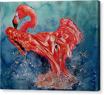 Flamingo Inflight Canvas Print by Maria Barry