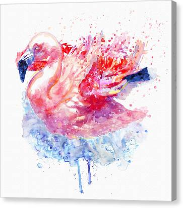 Flamingo On The Water Canvas Print by Marian Voicu
