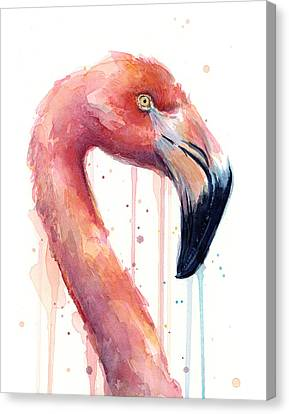 Flamingo Painting Watercolor - Facing Right Canvas Print by Olga Shvartsur