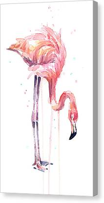 Flamingo Painting Watercolor Canvas Print by Olga Shvartsur