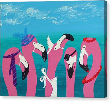 Canvas Print featuring the painting Flamingo Party by Katherine Young-Beck