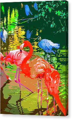 Flamingo Time Canvas Print by Josy Cue