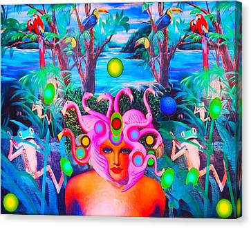 Flamingodeusa In The Neon Jungle Canvas Print