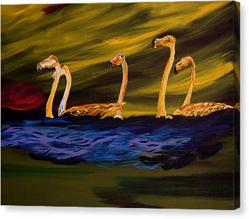 Flamingoes Swim African Birds Canvas Print by Gregory Allen Page