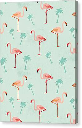Flamingos And Palm Trees Canvas Print