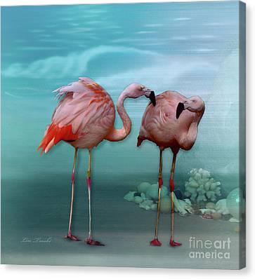 Flamingos Gossip Canvas Print by Linda Troski