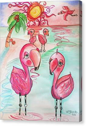 Flamingos In The Sun Canvas Print by Shelley Overton