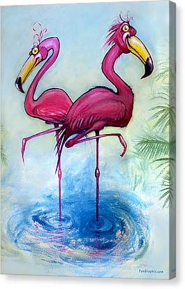 Flamingos Canvas Print by Kevin Middleton