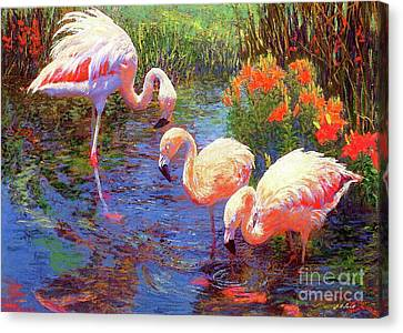 Flamingos, Tangerine Dream Canvas Print by Jane Small