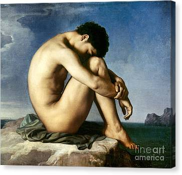Flandrin: Nude Youth, 1837 Canvas Print by Granger