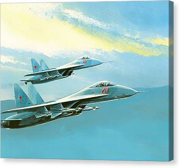 Flankers In Formation Canvas Print by Mountain Dreams