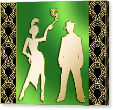 Canvas Print featuring the digital art Flapper And The Gangster by Chuck Staley