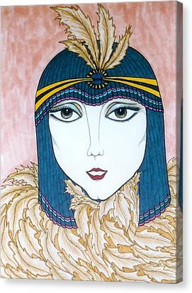 Canvas Print featuring the greeting card Flapper Girl 2 by Rae Chichilnitsky