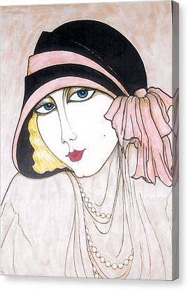 Canvas Print featuring the greeting card Flapper Girl 3 by Rae Chichilnitsky