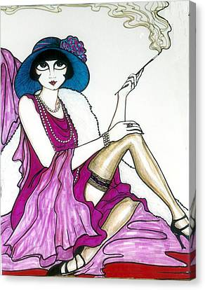 Canvas Print featuring the greeting card Flapper Girl 4 by Rae Chichilnitsky