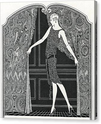 Hairstyle Canvas Print - Flapper Opening A Curtain by American School