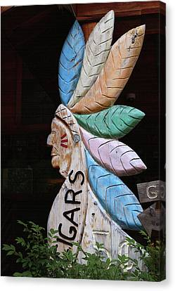 Flat Cigar Store Indian Canvas Print by Art Block Collections