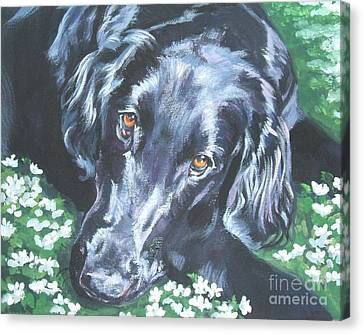 Canvas Print featuring the painting Flat Coated Retriever by Lee Ann Shepard