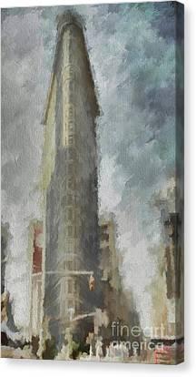 Canvas Print featuring the digital art Flat Iron by Jim  Hatch