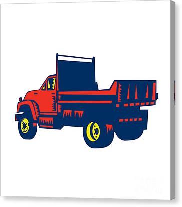 Flatbed Truck Woodcut Canvas Print