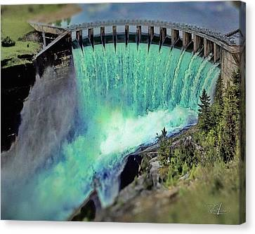 Flathead Lake Kerr Dam Canvas Print by Russ Harris