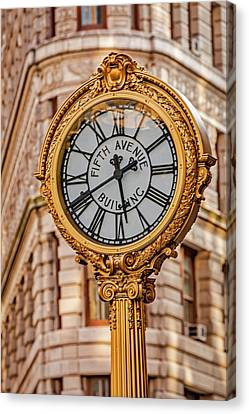 Canvas Print featuring the photograph Flatiron And Fifth Ave Clock Nyc  by Susan Candelario
