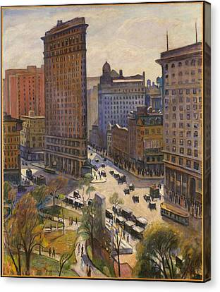 Canvas Print featuring the painting Flatiron Building New York By Samuel Halpert by Samuel Halpert
