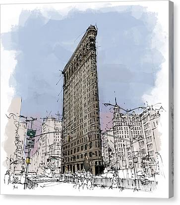 Flatiron Building, New York Sketch Canvas Print by Pablo Franchi
