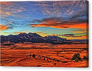 Canvas Print featuring the photograph Flatiron Sunset Fire Red by Scott Mahon