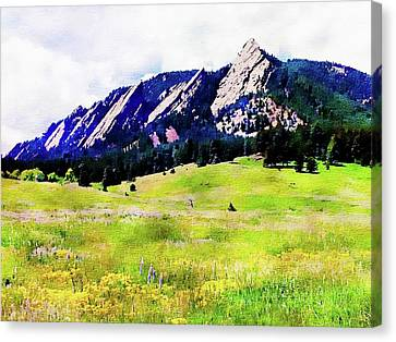 Canvas Print featuring the digital art Flatirons - Boulder, Colorado by Joseph Hendrix