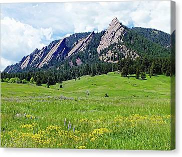 Canvas Print featuring the digital art Flatirons Of Boulder, Colorado by Joseph Hendrix